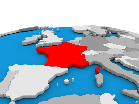 republique: Map of France highlighted in red on simple globe. 3D illustration