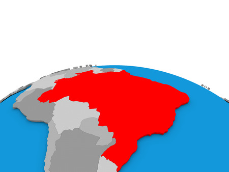federative republic of brazil: Map of Brazil highlighted in red on simple globe. 3D illustration
