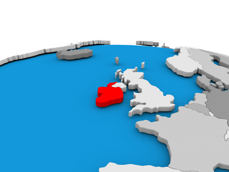 eire: Map of Ireland highlighted in red on simple globe. 3D illustration