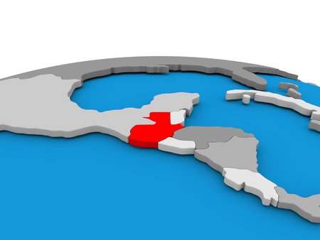 guatemalan: Map of Guatemala highlighted in red on simple globe. 3D illustration Stock Photo