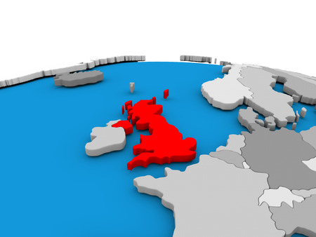 Map of United Kingdom highlighted in red on simple globe. 3D illustration
