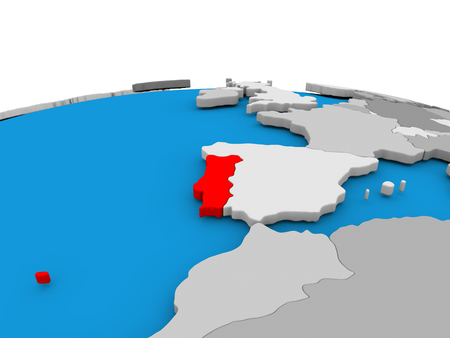 Map of Portugal highlighted in red on simple globe. 3D illustration