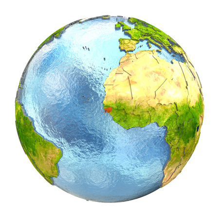 Guinea-Bissau highlighted in red on Earth. 3D illustration with highly detailed realistic planet surface isolated on white background. Stock Photo