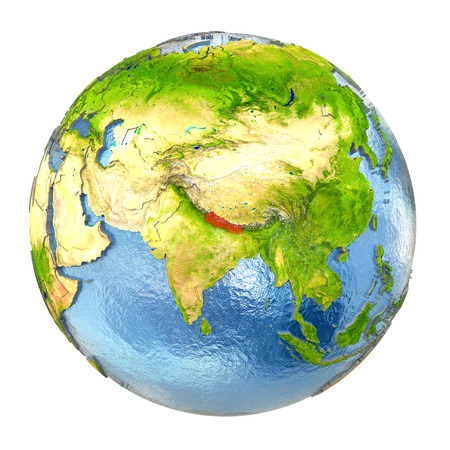 Nepal highlighted in red on Earth. 3D illustration with highly detailed realistic planet surface isolated on white background. Stock Photo
