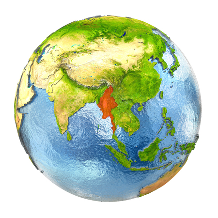 burmese: Myanmar highlighted in red on Earth. 3D illustration with highly detailed realistic planet surface isolated on white background.