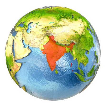 India highlighted in red on Earth. 3D illustration with highly detailed realistic planet surface isolated on white background.