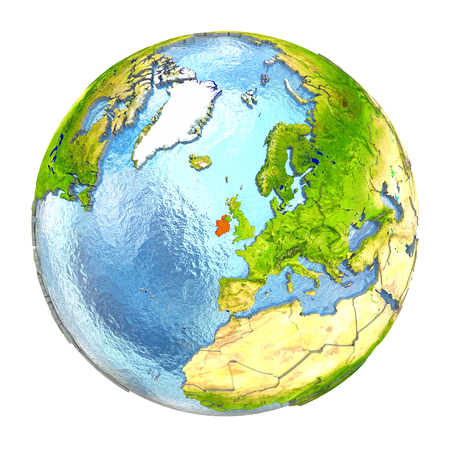 Ireland highlighted in red on Earth. 3D illustration with highly detailed realistic planet surface isolated on white background.