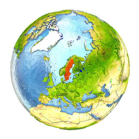 sverige: Sweden highlighted in red on Earth. 3D illustration with highly detailed realistic planet surface isolated on white background.