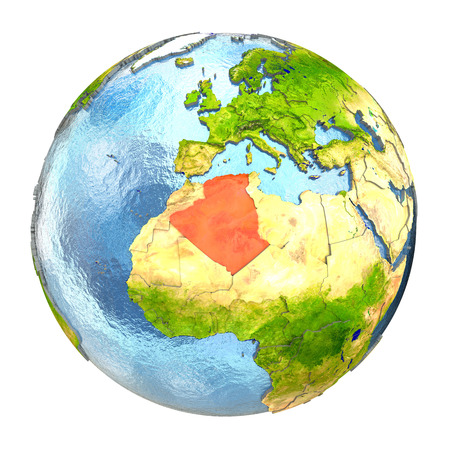 algeria: Algeria highlighted in red on Earth. 3D illustration with highly detailed realistic planet surface isolated on white background.
