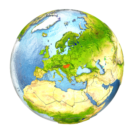 magyar: Hungary highlighted in red on Earth. 3D illustration with highly detailed realistic planet surface isolated on white background. Stock Photo