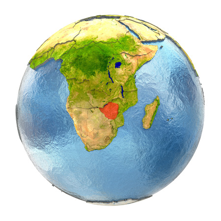 Zimbabwe highlighted in red on Earth. 3D illustration with highly detailed realistic planet surface isolated on white background.