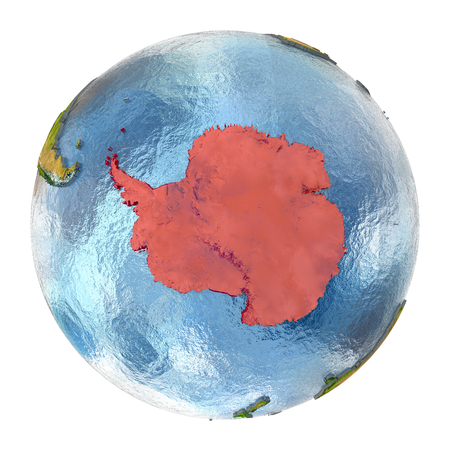 Antarctica highlighted in red on Earth. 3D illustration with highly detailed realistic planet surface isolated on white background.