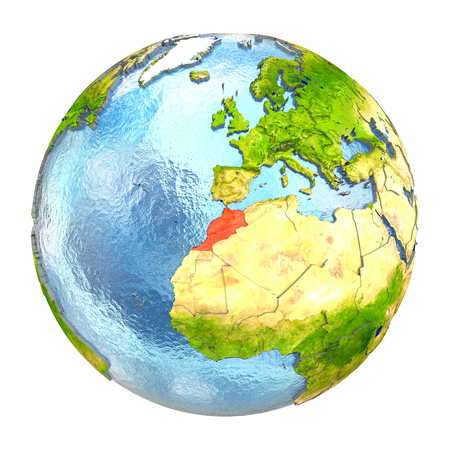 Morocco highlighted in red on Earth. 3D illustration with highly detailed realistic planet surface isolated on white background.