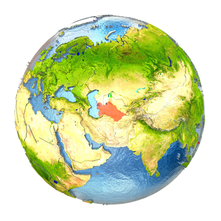 Turkmenistan highlighted in red on Earth. 3D illustration with highly detailed realistic planet surface isolated on white background.