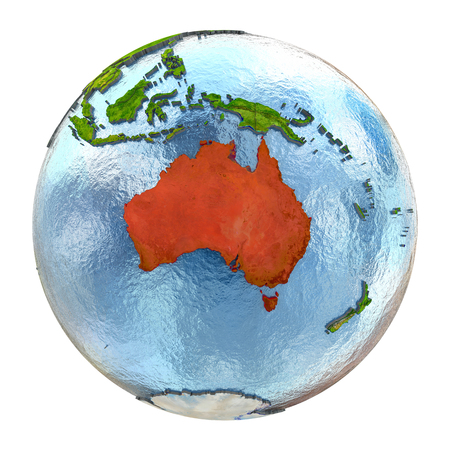 Australia highlighted in red on Earth. 3D illustration with highly detailed realistic planet surface isolated on white background.