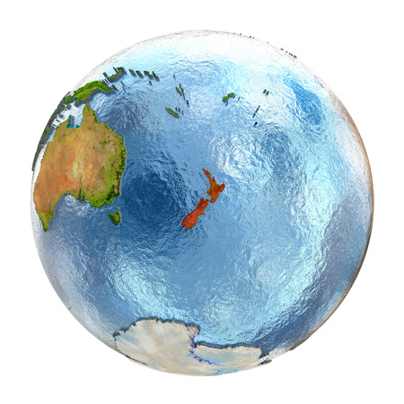 aotearoa: New Zealand highlighted in red on Earth. 3D illustration with highly detailed realistic planet surface isolated on white background.