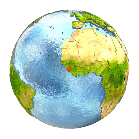 Sierra Leone highlighted in red on Earth. 3D illustration with highly detailed realistic planet surface isolated on white background.