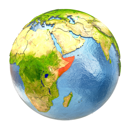 Somalia highlighted in red on Earth. 3D illustration with highly detailed realistic planet surface isolated on white background.