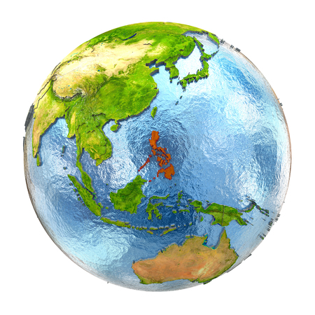 Philippines highlighted in red on Earth. 3D illustration with highly detailed realistic planet surface isolated on white background. Stock Photo
