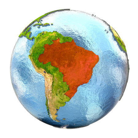federative republic of brazil: Brazil highlighted in red on Earth. 3D illustration with highly detailed realistic planet surface isolated on white background.