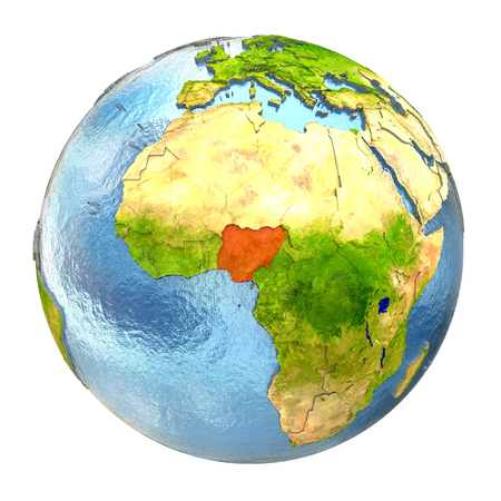 country nigeria: Nigeria highlighted in red on Earth. 3D illustration with highly detailed realistic planet surface isolated on white background.