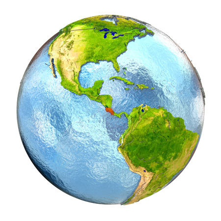Costa Rica highlighted in red on Earth. 3D illustration with highly detailed realistic planet surface isolated on white background.