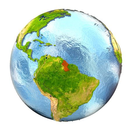 Guyana highlighted in red on Earth. 3D illustration with highly detailed realistic planet surface isolated on white background.