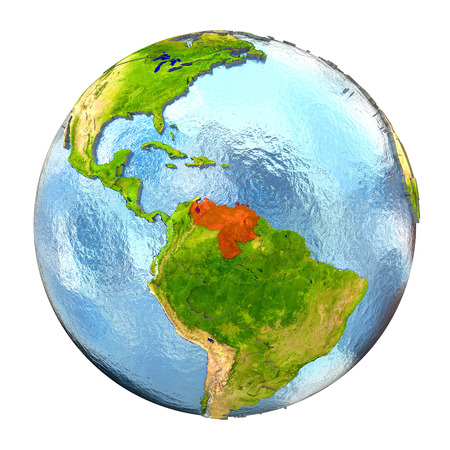Venezuela highlighted in red on Earth. 3D illustration with highly detailed realistic planet surface isolated on white background.