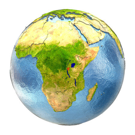 Burundi highlighted in red on Earth. 3D illustration with highly detailed realistic planet surface isolated on white background. Stock Photo