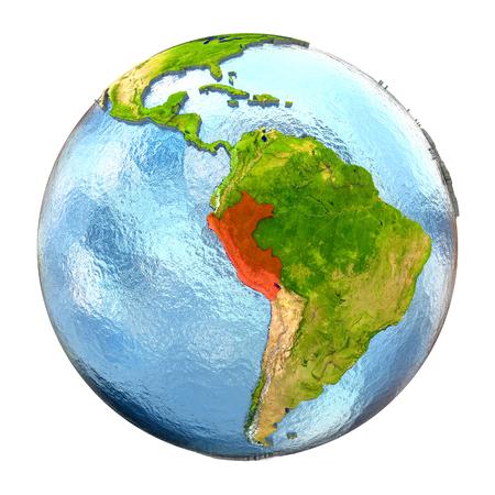 Perú resaltado en rojo en la Tierra. Ilustración 3D con alto nivel de detalle superficie del planeta realista aislado en el fondo blanco. Foto de archivo
