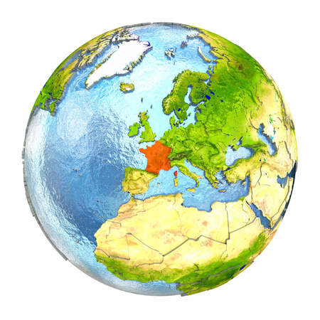 francaise: France highlighted in red on Earth. 3D illustration with highly detailed realistic planet surface isolated on white background.