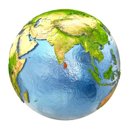 スリランカは地球上の赤で強調表示されます。白い背景で隔離の非常に詳細な現実的な惑星の表面に 3 D のイラスト。