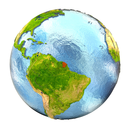 French Guiana highlighted in red on Earth. 3D illustration with highly detailed realistic planet surface isolated on white background.