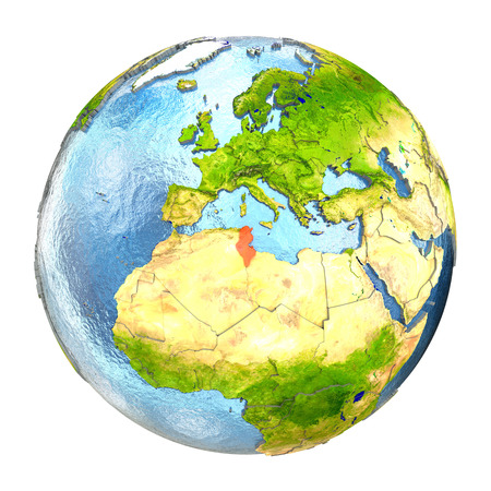 Tunisia highlighted in red on Earth. 3D illustration with highly detailed realistic planet surface isolated on white background.