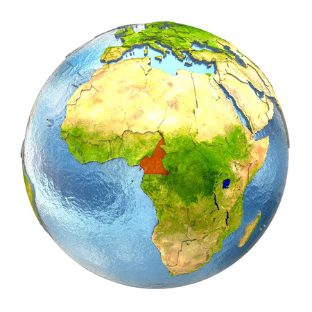 physical geography: Cameroon highlighted in red on Earth. 3D illustration with highly detailed realistic planet surface isolated on white background.