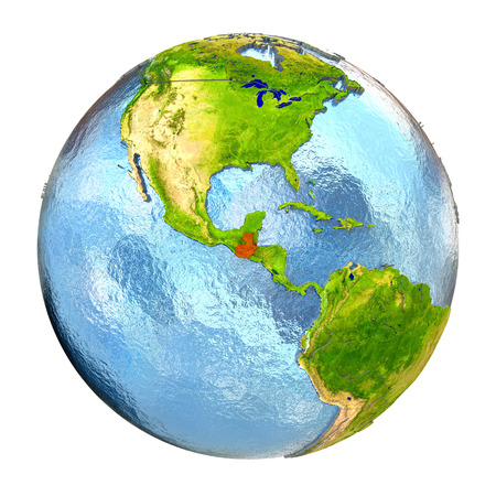 guatemalan: Guatemala highlighted in red on Earth. 3D illustration with highly detailed realistic planet surface isolated on white background.