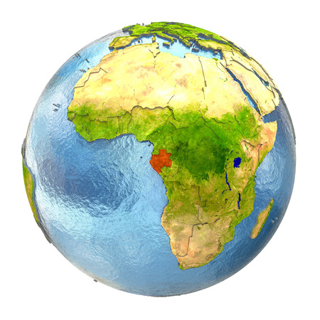 Gabon highlighted in red on Earth. 3D illustration with highly detailed realistic planet surface isolated on white background. Stock Photo