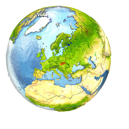 Slovakia highlighted in red on Earth. 3D illustration with highly detailed realistic planet surface isolated on white background.