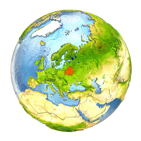 Belarus highlighted in red on Earth. 3D illustration with highly detailed realistic planet surface isolated on white background. Stock Photo