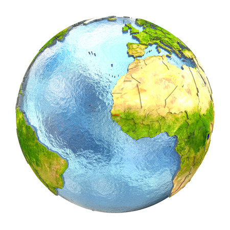 gambia: Gambia highlighted in red on Earth. 3D illustration with highly detailed realistic planet surface isolated on white background.