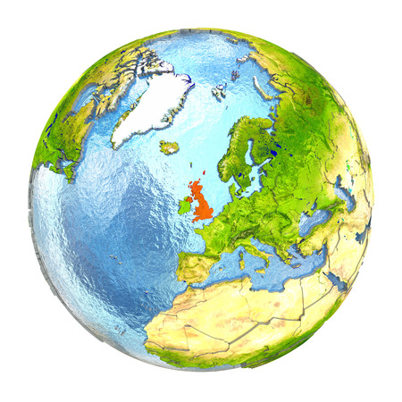 United Kingdom highlighted in red on Earth. 3D illustration with highly detailed realistic planet surface isolated on white background. Stock Photo