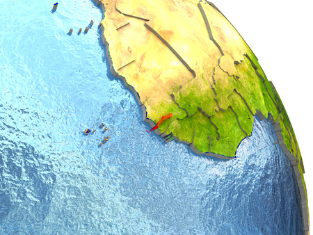 Gambia in red with surrounding region. 3D illustration with highly detailed realistic planet surface.