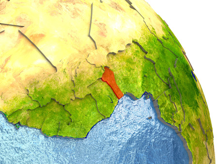 Benin in red with surrounding region. 3D illustration with highly detailed realistic planet surface.