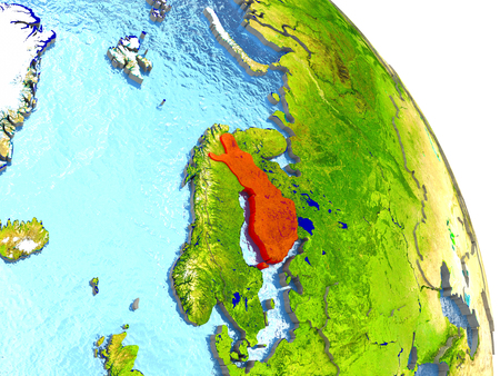 finnish: Finland in red with surrounding region. 3D illustration with highly detailed realistic planet surface.