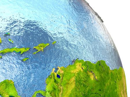 dominican: Caribbean in red with surrounding region. 3D illustration with highly detailed realistic planet surface. Stock Photo