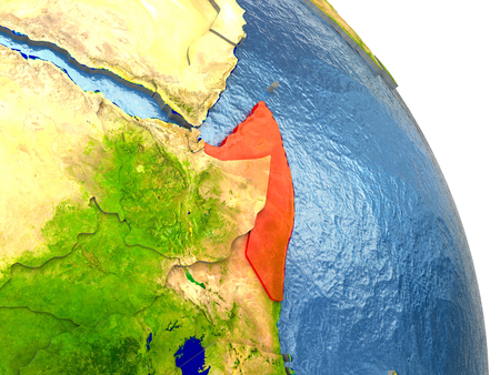 Somalia in red with surrounding region. 3D illustration with highly detailed realistic planet surface. Stock Photo