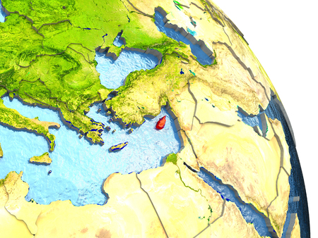 Cyprus in red with surrounding region. 3D illustration with highly detailed realistic planet surface. Stock Photo
