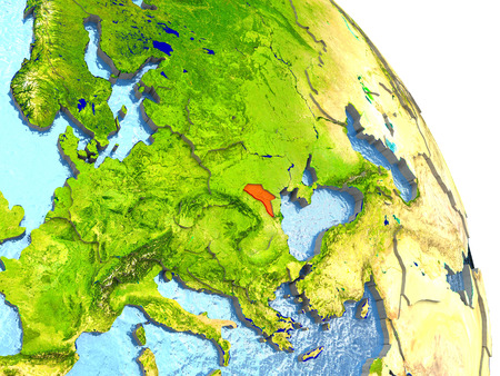 Moldova in red with surrounding region. 3D illustration with highly detailed realistic planet surface.