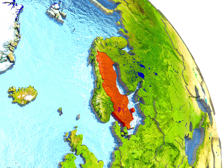 sverige: Sweden in red with surrounding region. 3D illustration with highly detailed realistic planet surface. Elements of this image furnished by NASA.