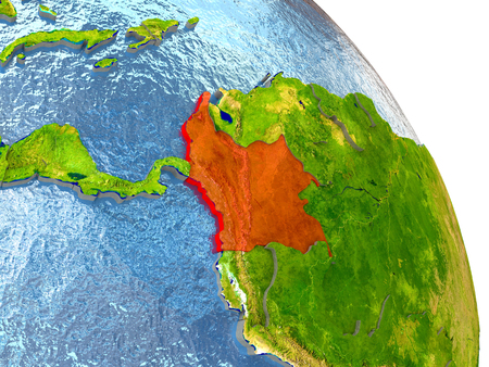colombian: Colombia in red with surrounding region. 3D illustration with highly detailed realistic planet surface.